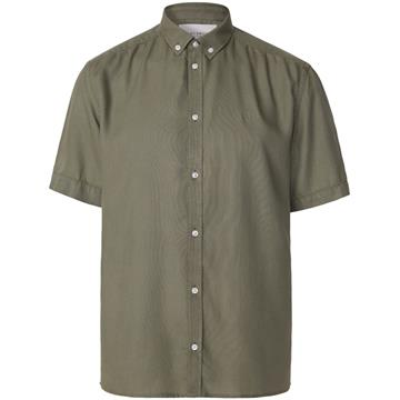 Les Deux Harvey Tencel Dobby SS shirt - Lichen Green