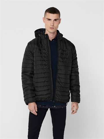 Only & Sons Paul Quilted Hood Jacket - Black