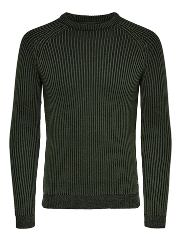 Only & Sons Rato 5 Struc Raglan Crew Knit NOOS - Forest Night