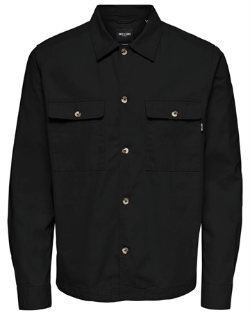 Only & Sons Ilvio Life Ls Twill overshirt - Black