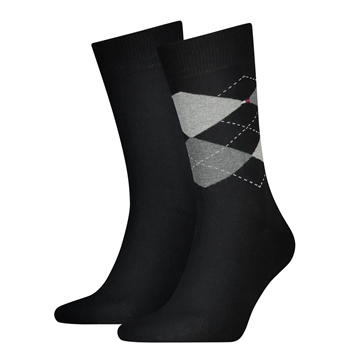 Tommy Hilfiger men sock check 2-pack - Black