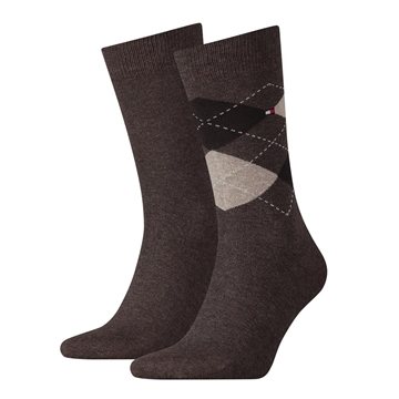 Tommy Hilfiger men sock check 2-pack - Oak