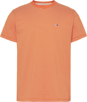 Tommy Jeans TJM Basic stripe tee - Bonfire Orange / White