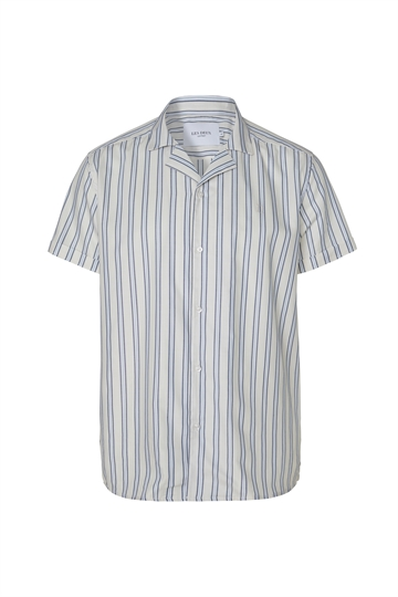 Les Deux Simon Stripe ss Poplin shirt - Off White/Dark Navy