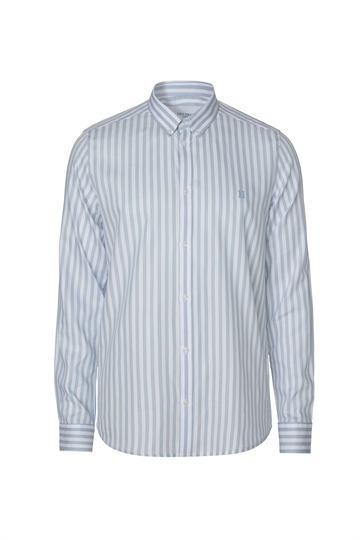 Les Deux Christoph Stripe Poplin shirt - Dust Blue/White