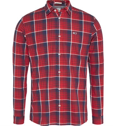 Tommy Jeans TJM Poplin multi check shirt - Racing Red