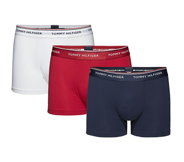 Tommy Hilfiger Underbukser 3-PACK Trunk - White/Tango Red/Peacoat