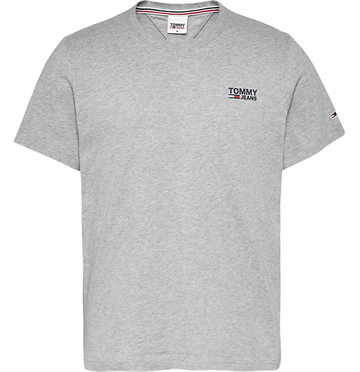 Tommy Jeans TJM Regular Corp logo c neck t-shirt - Lt grey