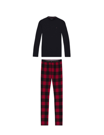 Tommy Hilfiger LS Pant Flannel Tee Set - Desert Sky/Primary Red