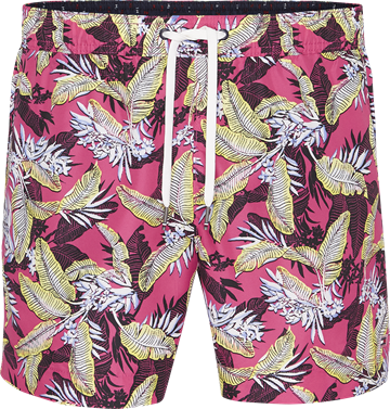 Tommy Hilfiger Medium Drawstring swimshorts - Tropic Leaf Fuchsia Purple
