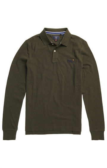 Superdry LS Classic Pique Polo - Winter Khaki Grit