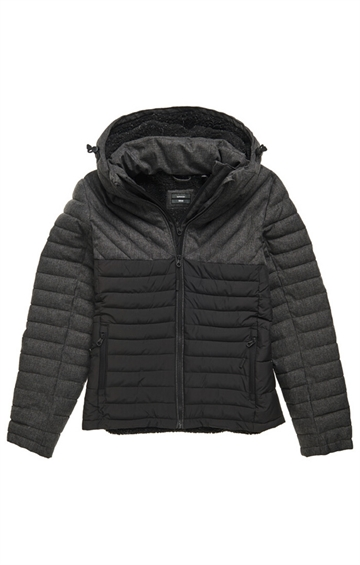 Superdry Tweed Mix Fuji Jacket - Charcoal Herringbone
