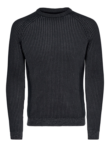 Only Sons Rato 5 Struc Raglan Crew Knit NOOS - Black