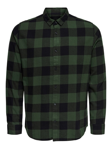 Only & Sons Gudmund Life LS Checked Shirt - Forest Night