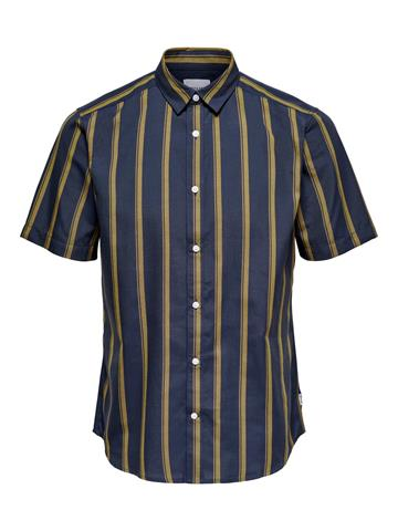 Only Sons Travis Life SS Striped Thin Oxford shirt - Dress Blue