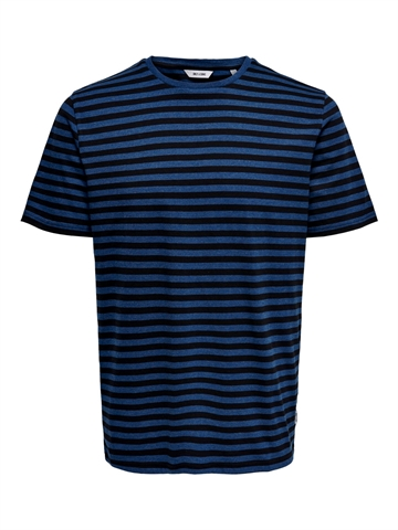 Only & Sons Jamie life ss stripe reg t-shirt - Estate blue black