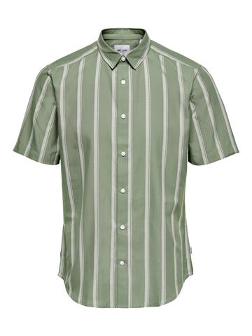 Only Sons Travis Life SS Striped Thin Oxford shirt - Oil Green