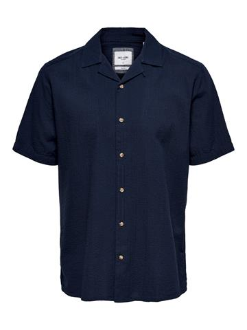 Only Sons Steve Life SS Seersucker shirt - Dark Navy