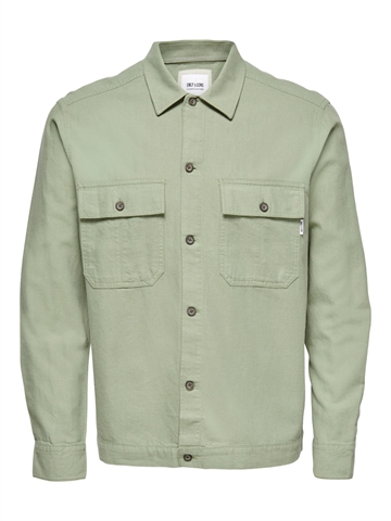 Only Sons Kennet Life LS Linen overshirt - Oil Green