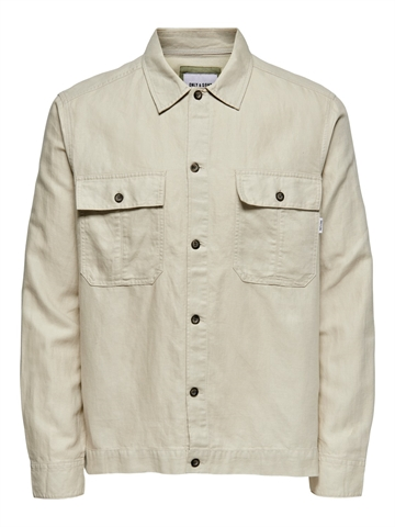 Only Sons Kennet Life LS Linen overshirt - Pelican