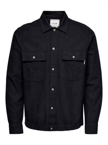 Only Sons Kennet Life LS Linen overshirt - Black