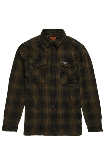 Superdry Miller Flannel Shirt - Olive Black Ombre Check